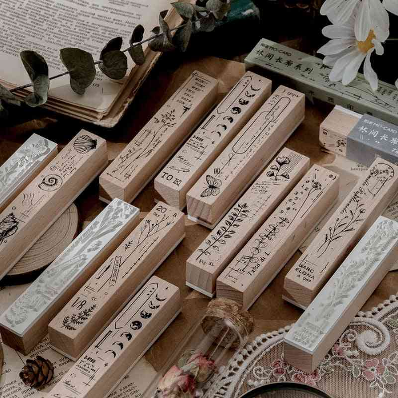 1pcs Vintage Forest Corridor Decoration - Moon Butterfly Wooden Rubber Stamps