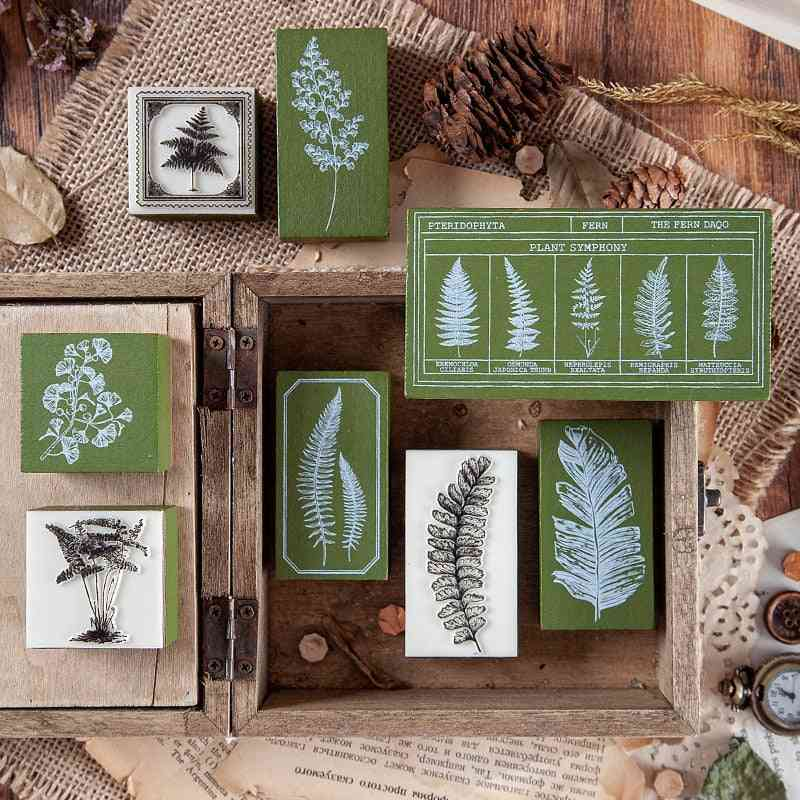 Retro Plant Diy Craft Wooden Rubber - Leaves Stamps For Scrapbooking Seal