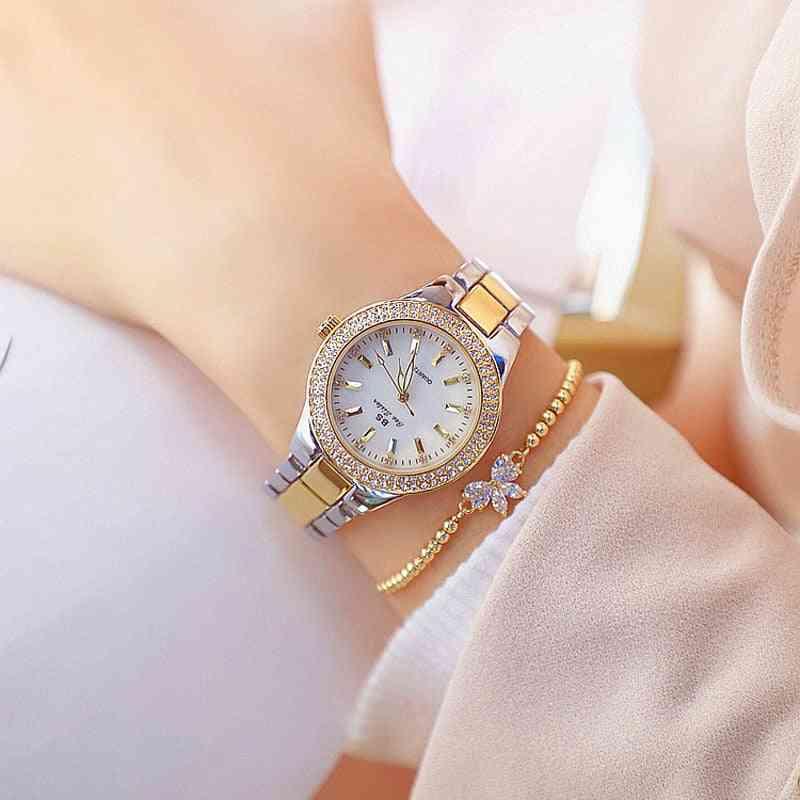 Women Crystal Diamond Watches, Stainless Steel Clock