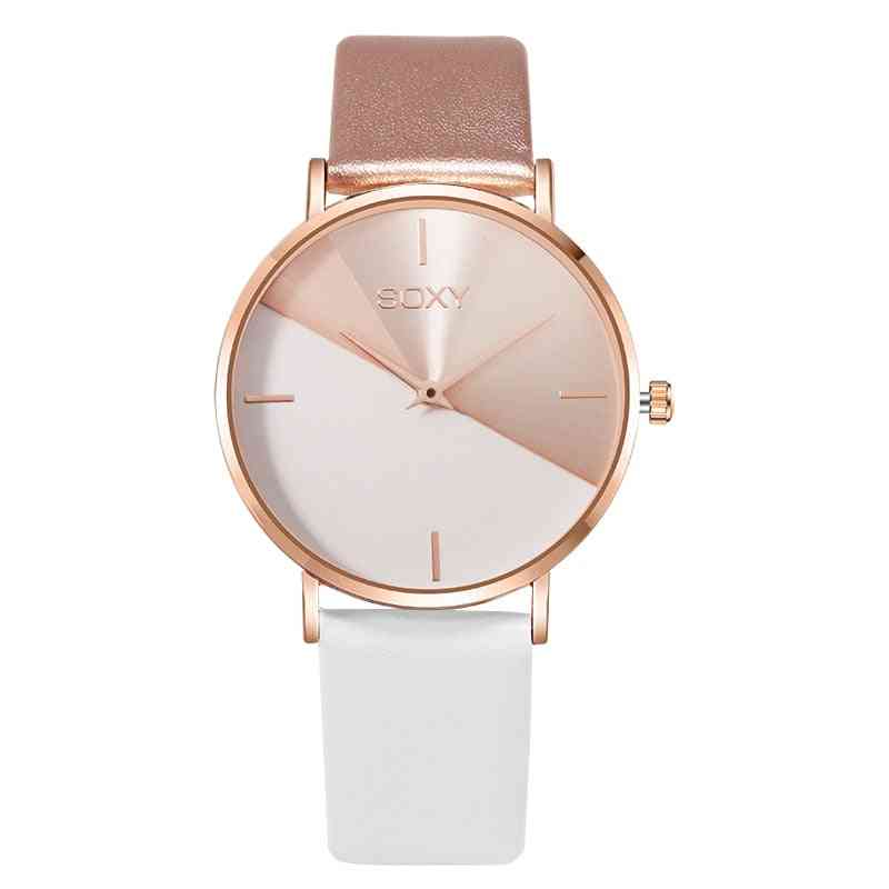 Round Shape Dial, Leather Strap Watch