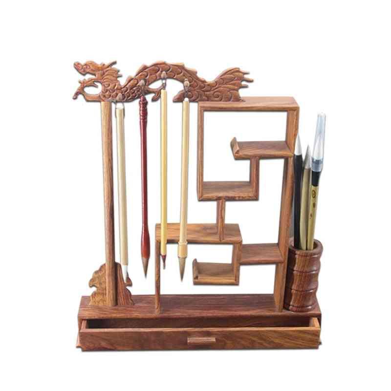 Unique Solid Wood Design, Calligraphy Writing Brush Holder Rack