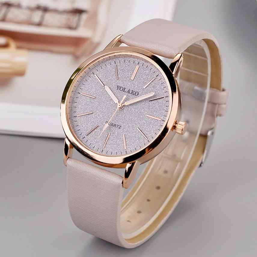 Luxury Brand, Leather Quartz, Women's Fashion Wristwatch Clock
