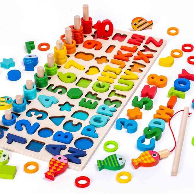 Wooden Montessori Magnetic Fishing Digital Shape Matching Blocks