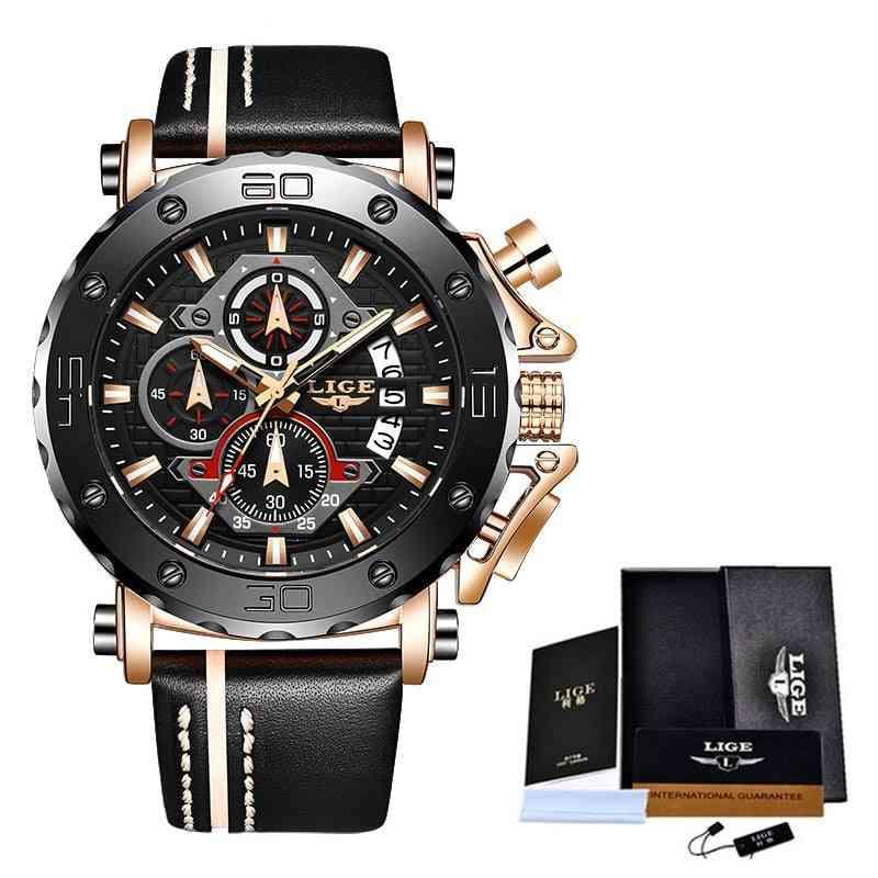 Fashion Sport Leather Luxury Date Waterproof Quartz Watch