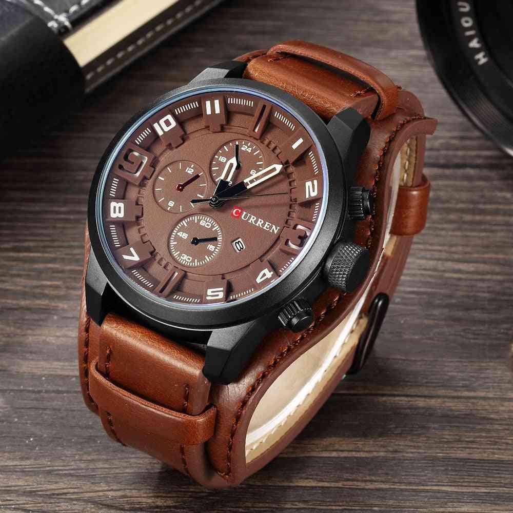 Top Brand Sport Watches, Military Clock Leather Strap Quartz Men Watch