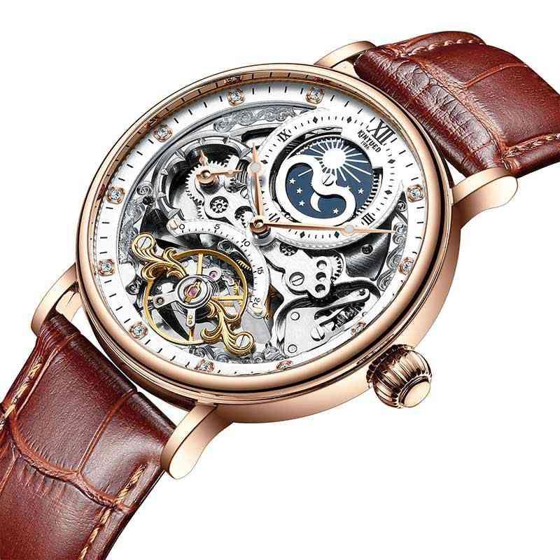 Skeleton Mechanical Automatic Watch, Men Tourbillon Sport Clock Casual Business Wrist Watch