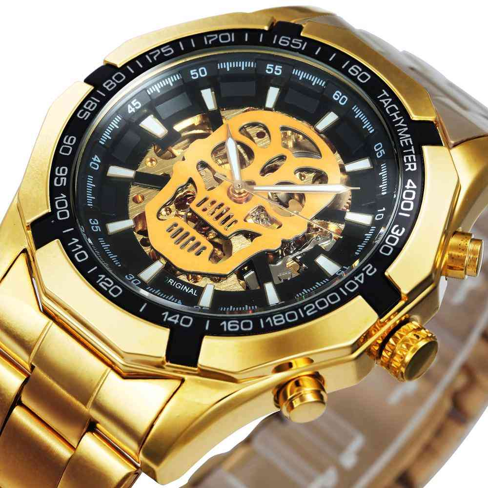 Automatic Steel Strap Skeleton Mechanical Skull Watches