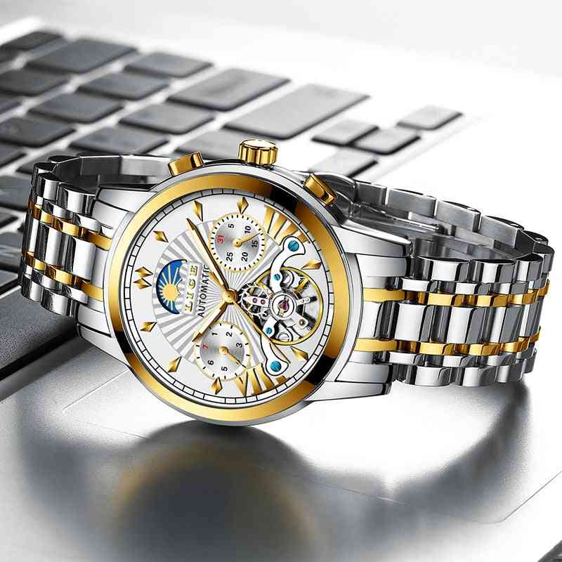 Top Brand Luxury Automatic Mechanical Business Clock Gold Watch