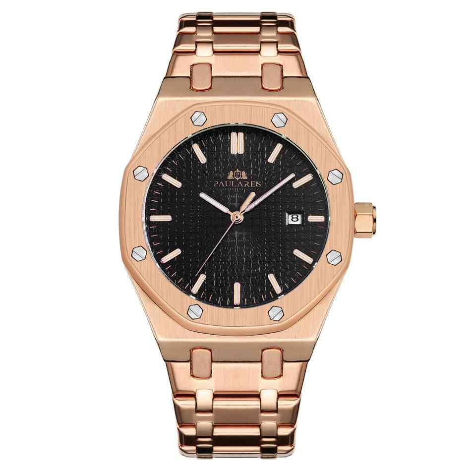 Men Automatic Self Wind Mechanical Stainless Steel Strap Simple Business Watch