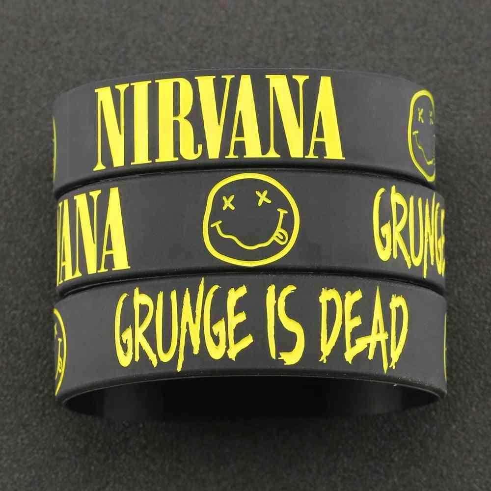 Bracelet Kurt Donald Cobain Rock Band, Hip Hop Bangle, Silicone Wristband, Engraved Smile Face Grunge Jewelry