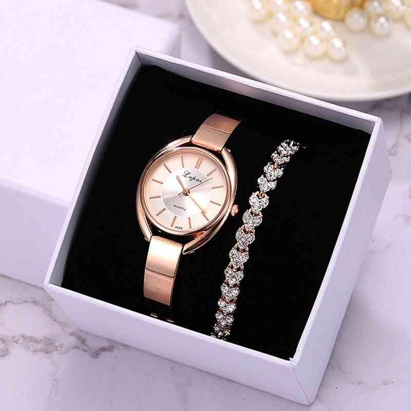 Bracelet Fashion, Women Dress Wristwatch, Luxury Quartz Watch Set