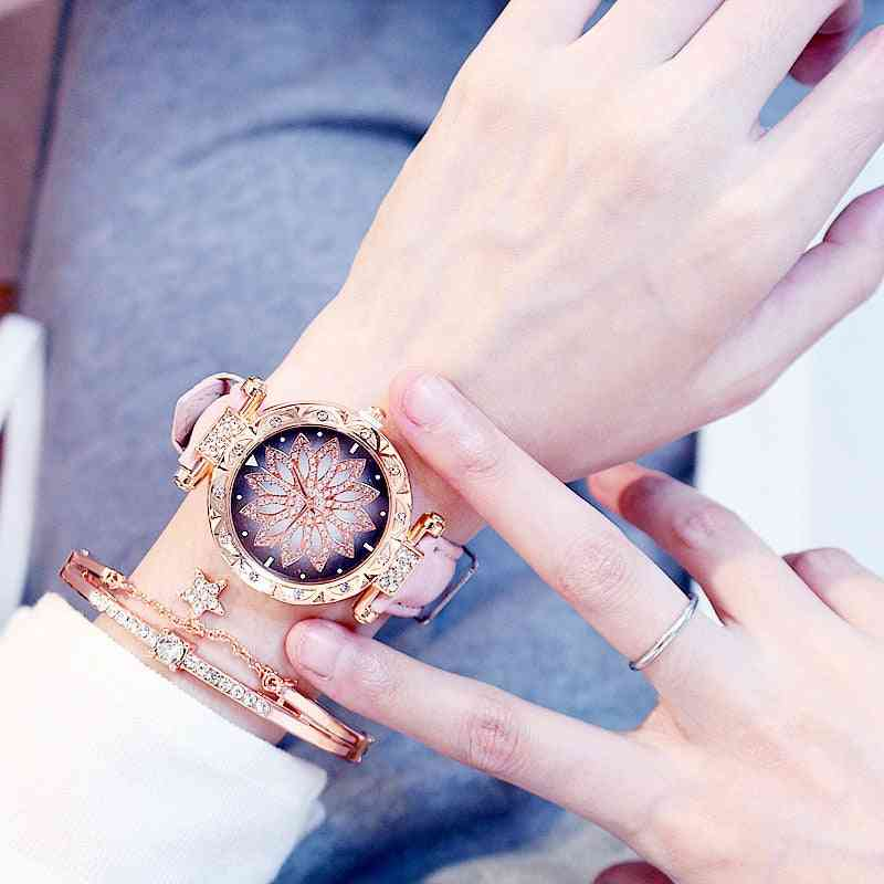Luxury Starry Sky Women Bracelet Watch, Leather Quartz Wristwatch