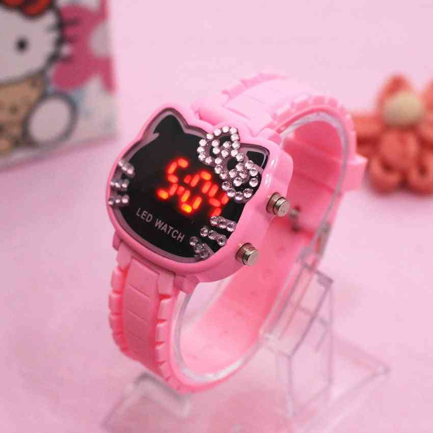 Women Led Electronic Watch, Cute Cartoon Sport Wrist Clock