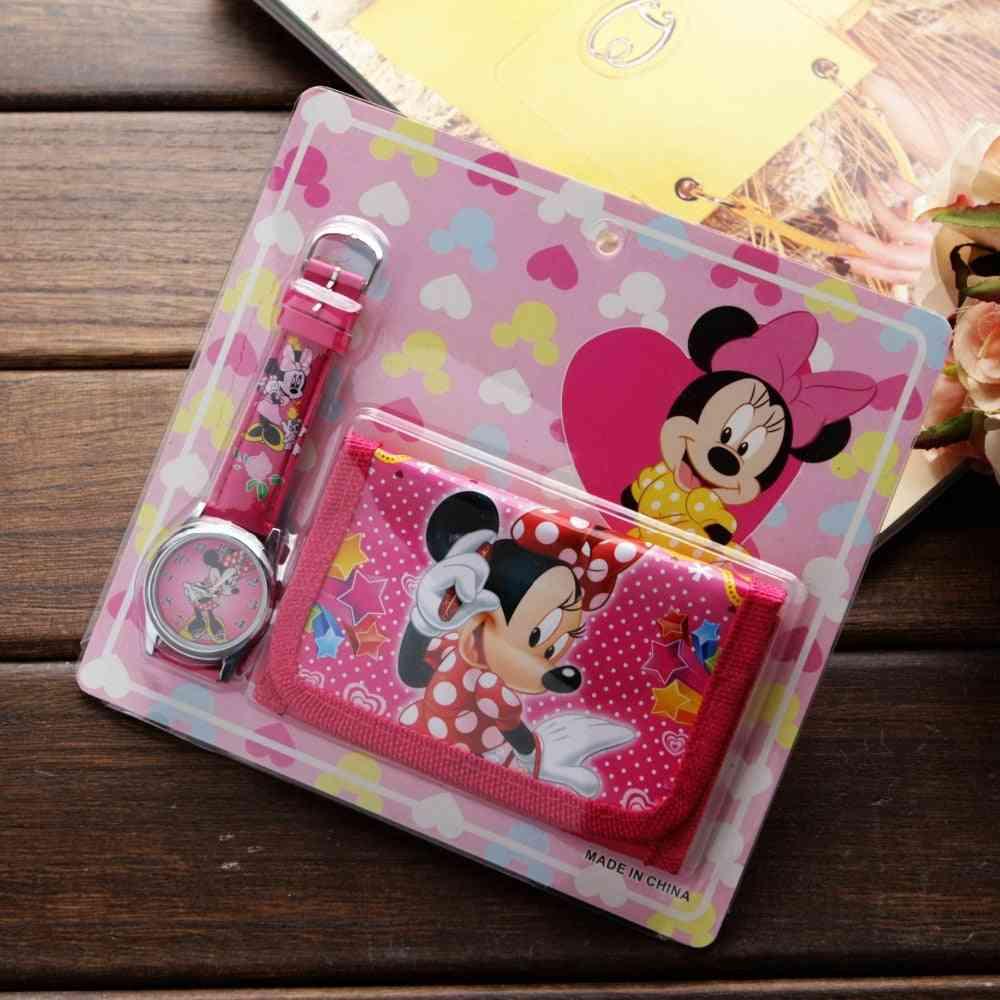 New Cartoon Spiderman Mickey Minnie Wallet Watch Set