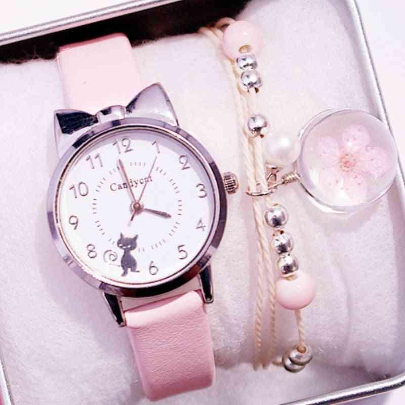 Students Pink Leather Child Hours Cat Quartz Wristwatch