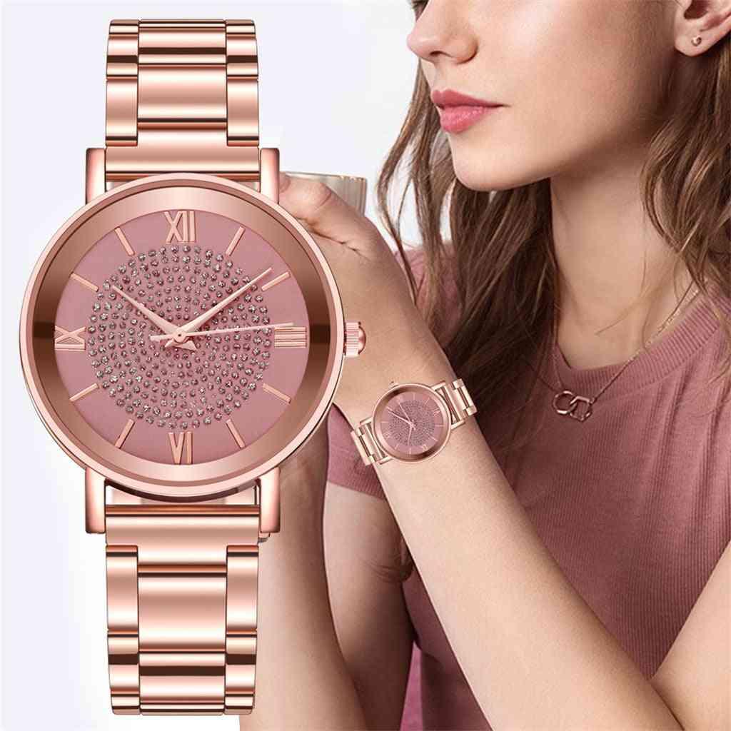Women Luxury Quartz Watch, Stainless Steel Dial Bracelet Watches