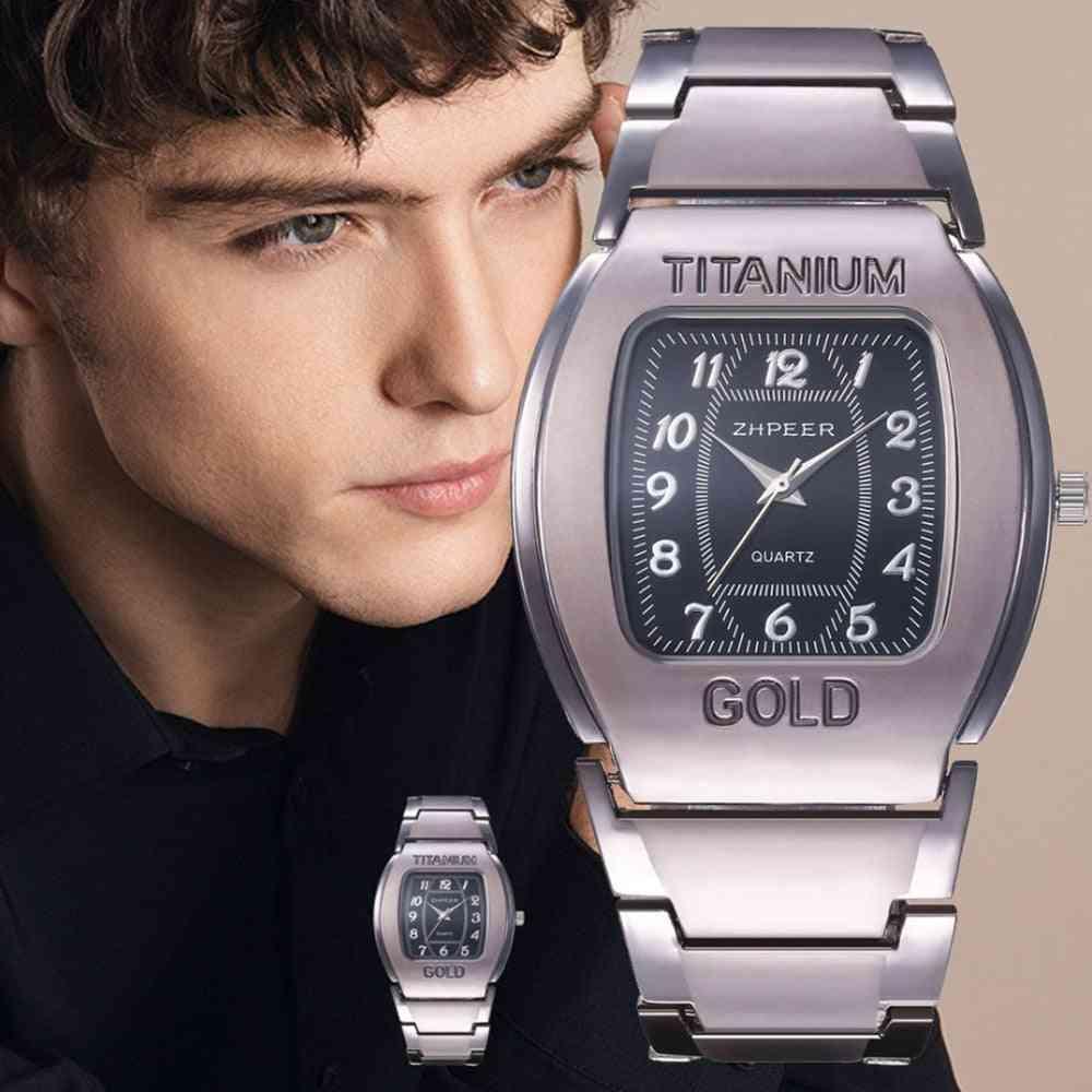 Men's Large Dial, Wine Barrel Square Titanium-gold Business Leisure Quartz Wrist Watch