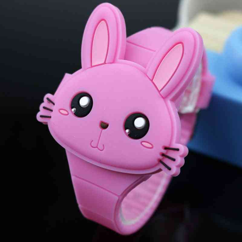 Lovely Rabbit Cartoon Flip Cover Rubber Electronic Watch