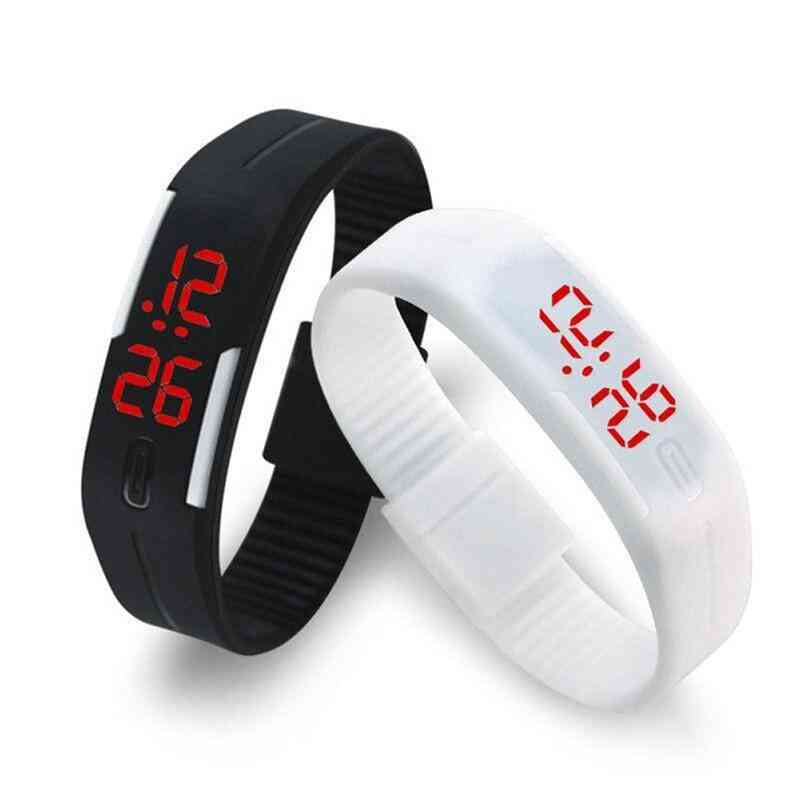 Rubber Strap, Led Digital Display Sports Wristwatch