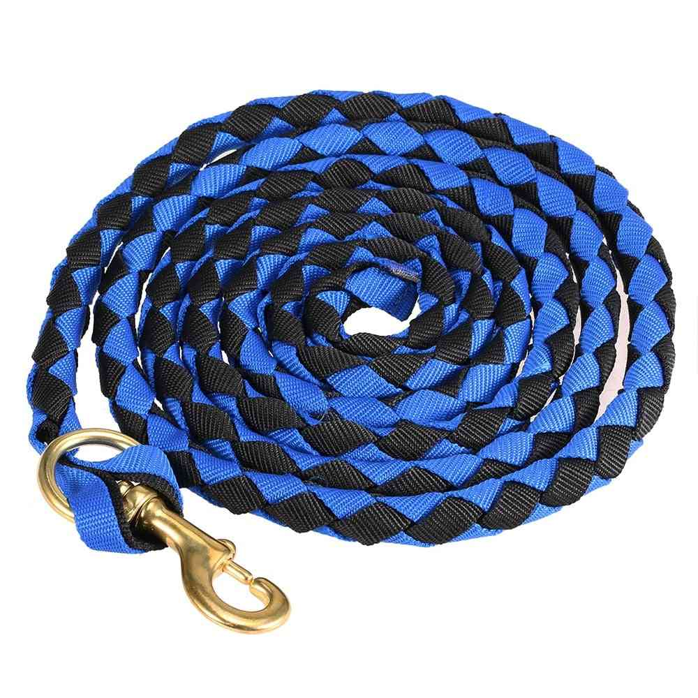 Braided Horse Leading Rope, Halter With Brass Snap