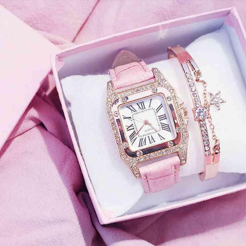 Women Diamond Watch Starry Square Dial Bracelet