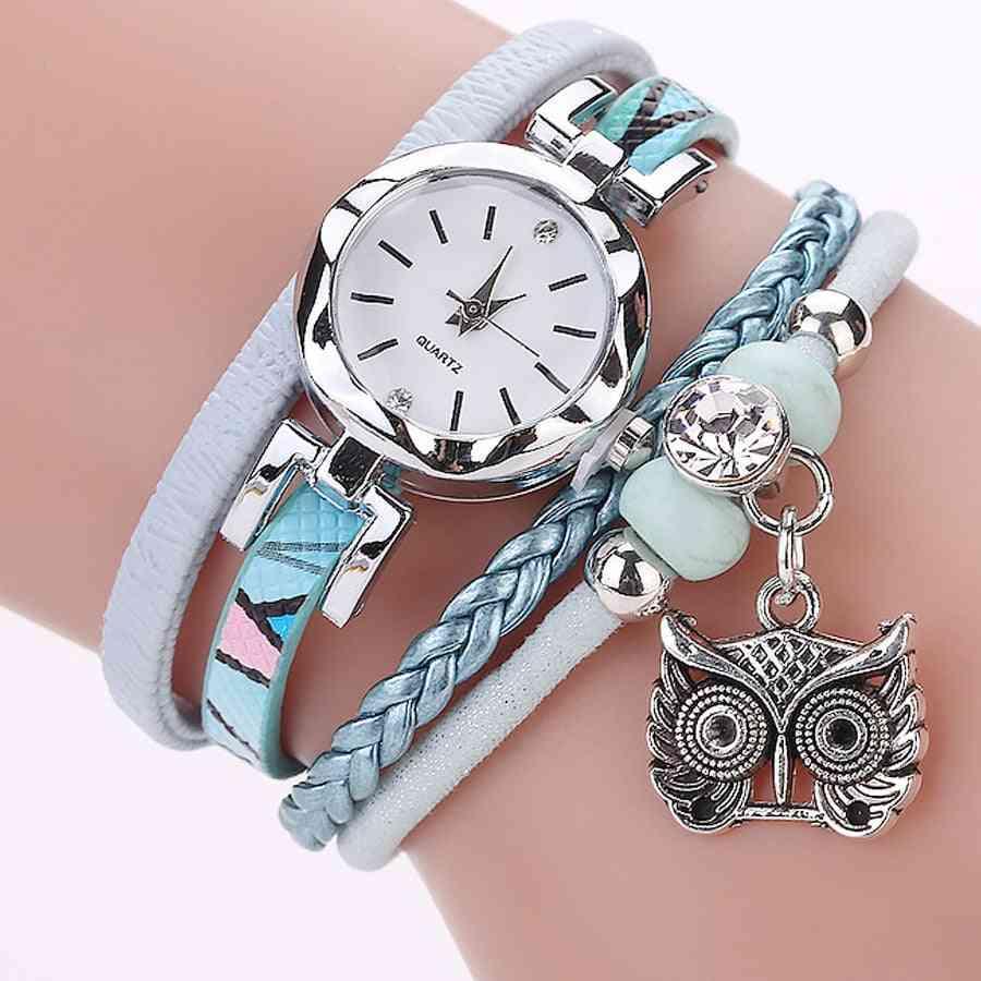 Luxury Fashion Bracelet Analog Quartz Watch Owl Pendant