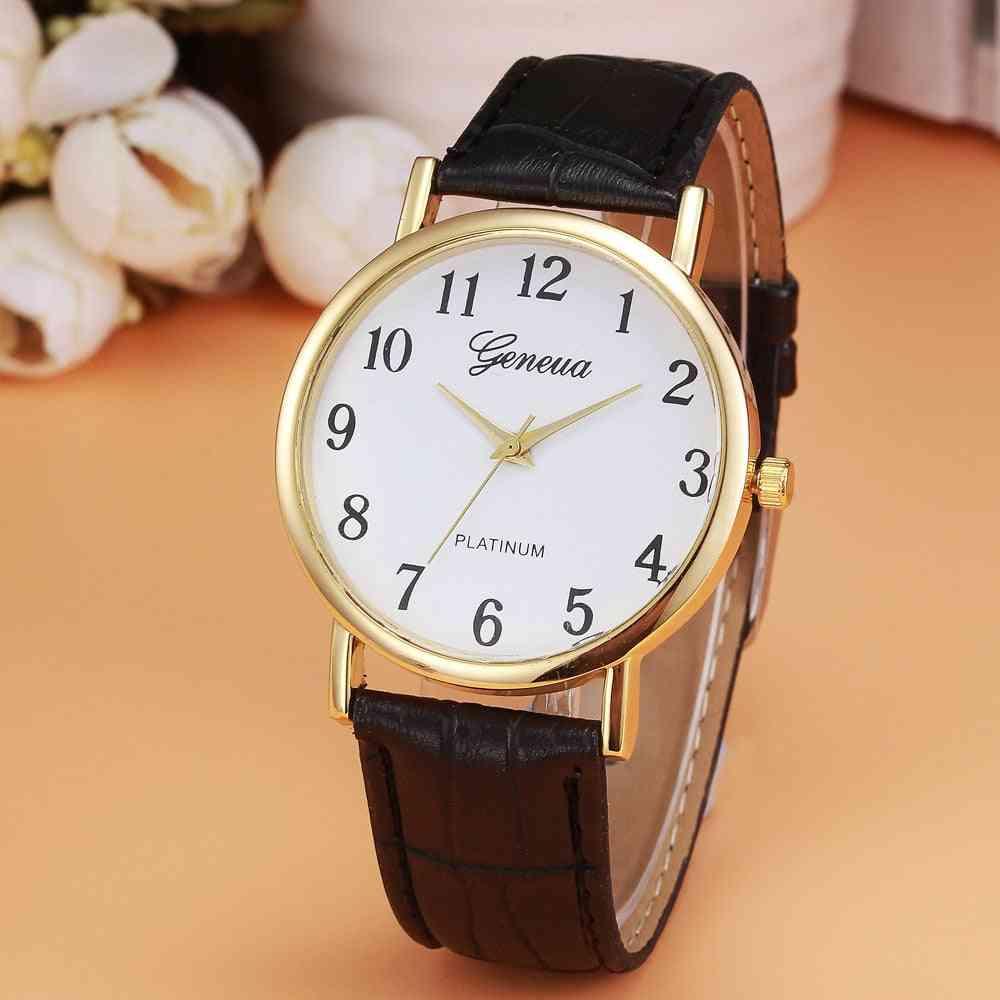 Women Fashion Faux Leather Analog Quartz Wrist Watch Bracelet
