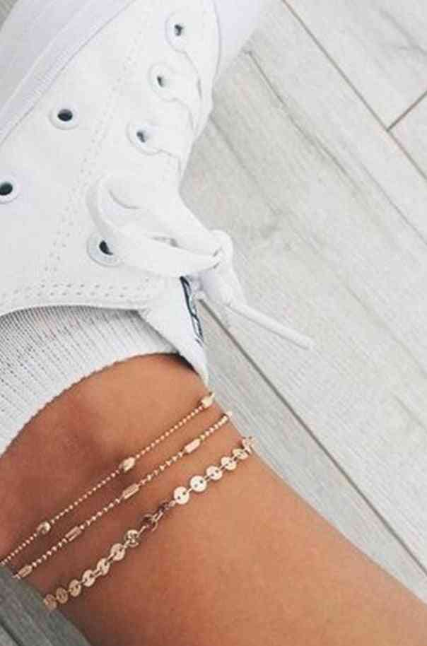 Bohemian-multilayer Beads Anklets, Fashion Sequins, Female Foot Jewelry