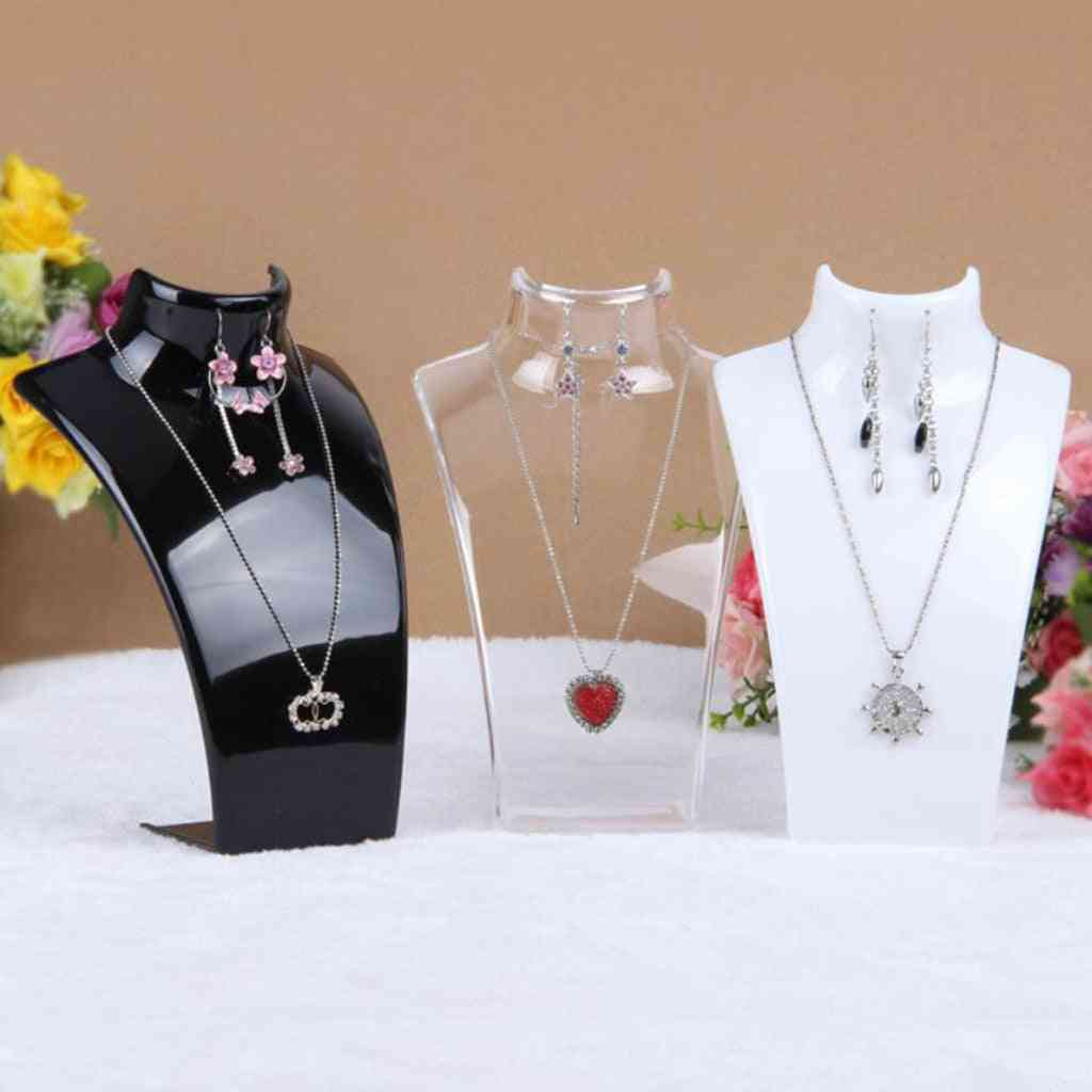 Acrylic Mannequin Necklace Display Bust Stand, Jewelry Holder, Rack