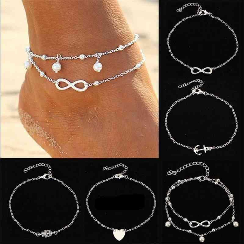 Stainless Steel Heart Pendant, Anklet Girl, Bracelet, Women Accessories Jewelry