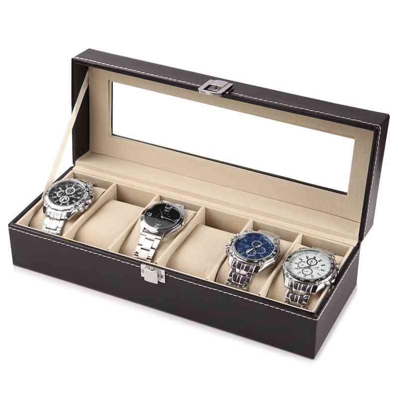 Leather Watch Storage Box, Organizer, New Mechanical Mens Watch Display Holder