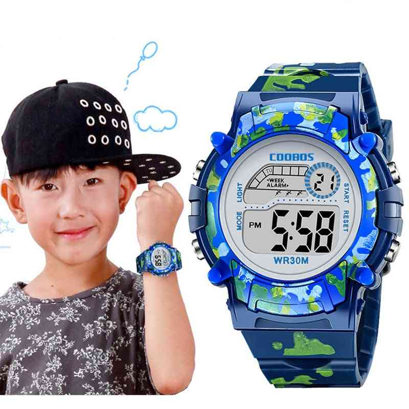 Kids Watches Led, Colorful Flash, Digital Waterproof, Alarm,,, Creative's Clock