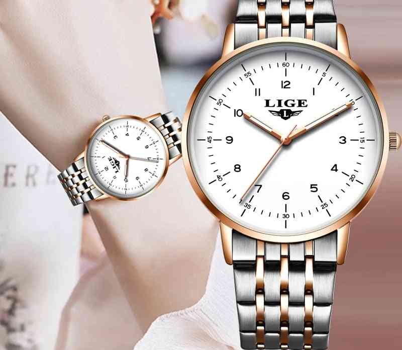 Gold Women Watches, Ladies Creative Steel Bracelet, Female Waterproof Clock