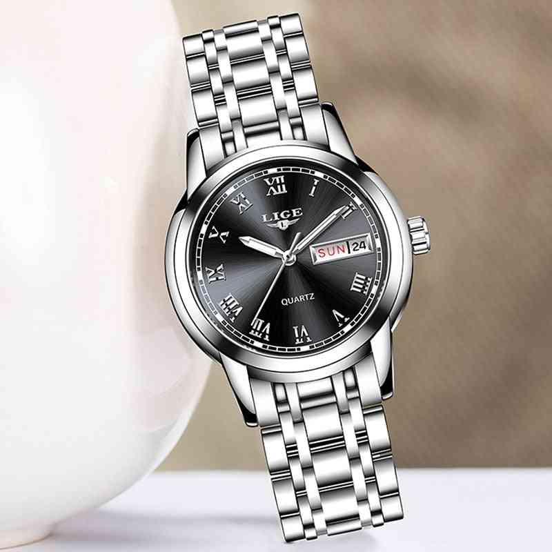 Fashion Luxury Stainless Steel, Calendar Sport Quartz, Women Waterproof Bracelet Watch