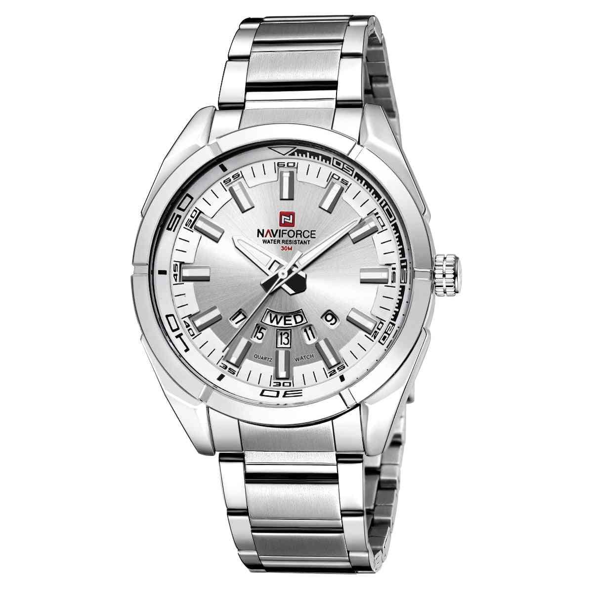 Men Business Stainless Steel, Waterproof, Date Quartz Wristwatches