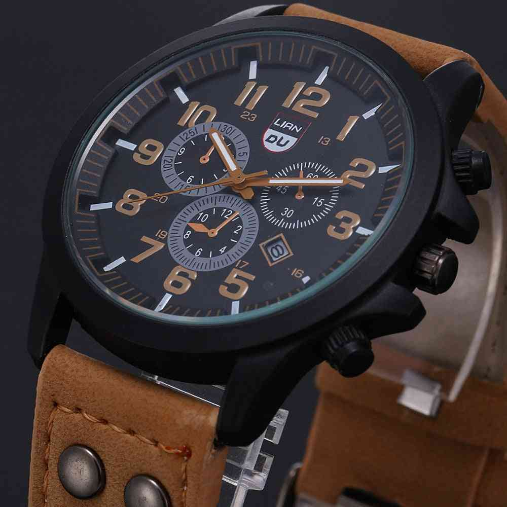 Vintage Classic Stainless Steel Waterproof Date Leather Strap Sport Quartz Army Watch