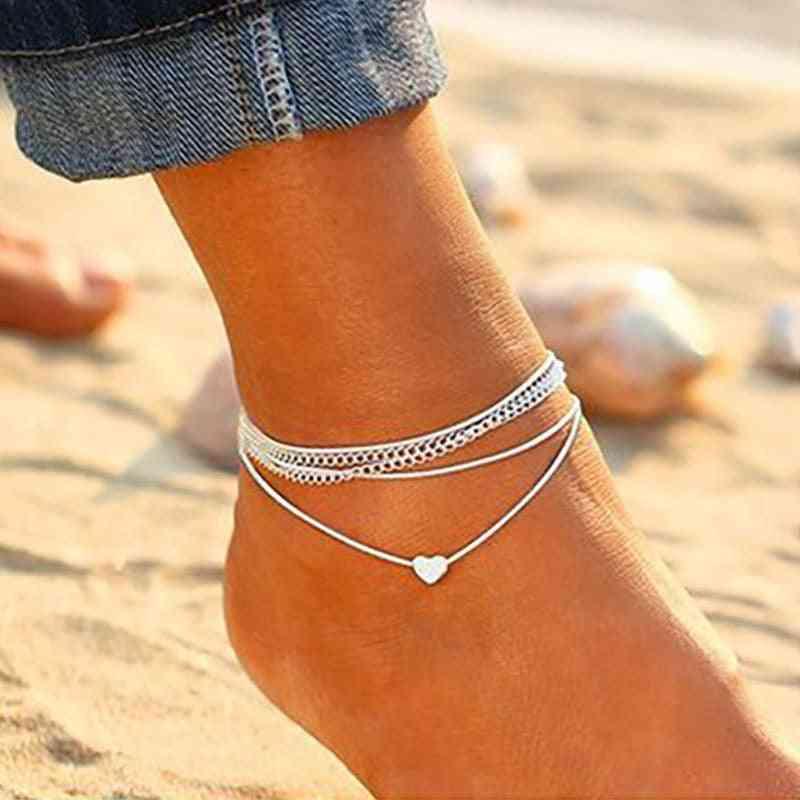 Bohemian Anklet, Bracelet On The Leg Fashion Heart, Barefoot Chain Jewelery