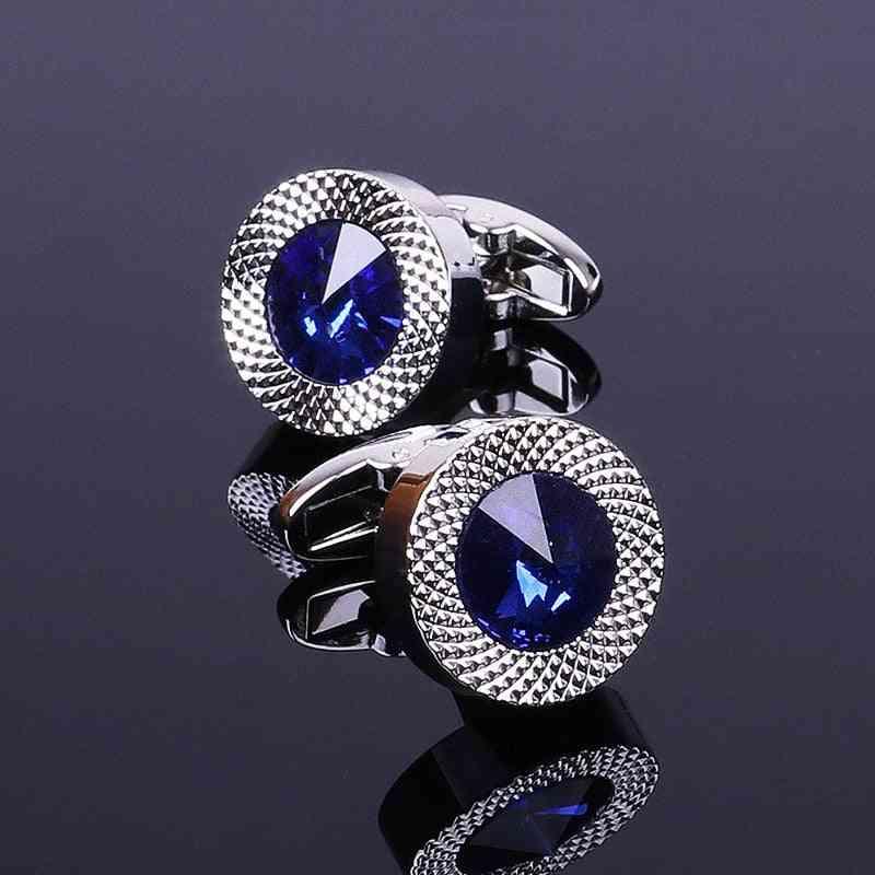 Classic Brand Blue Prismatic Cuff Button, Designer Men's Shirt Taper