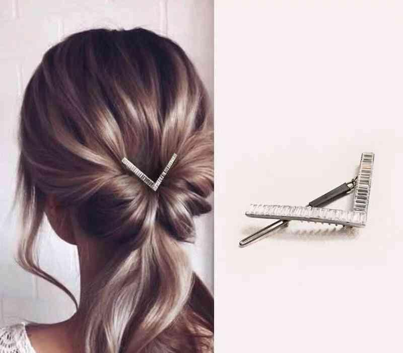 Luxury Crystal Cubic Zircon Metal Hairpins