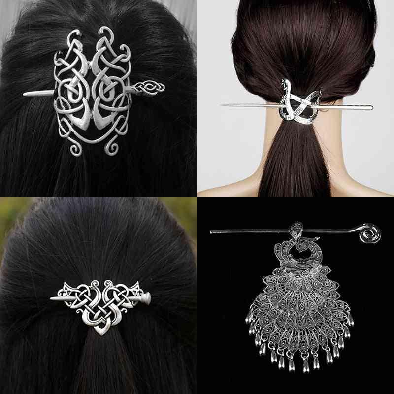 Hairpin Celtics Knots Crown, Vintage Metal Hair Stick