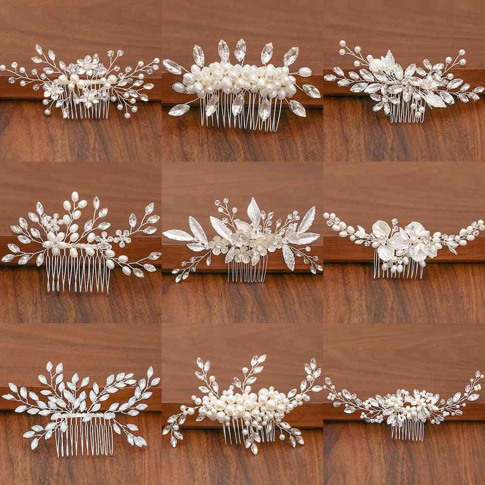 Pearl Rhinestone Wedding Hair Combs Accessories