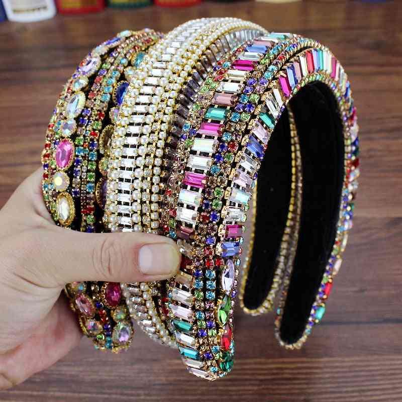 Full Crystal Pearl Baroque Padded Rhinestone Princess Headband
