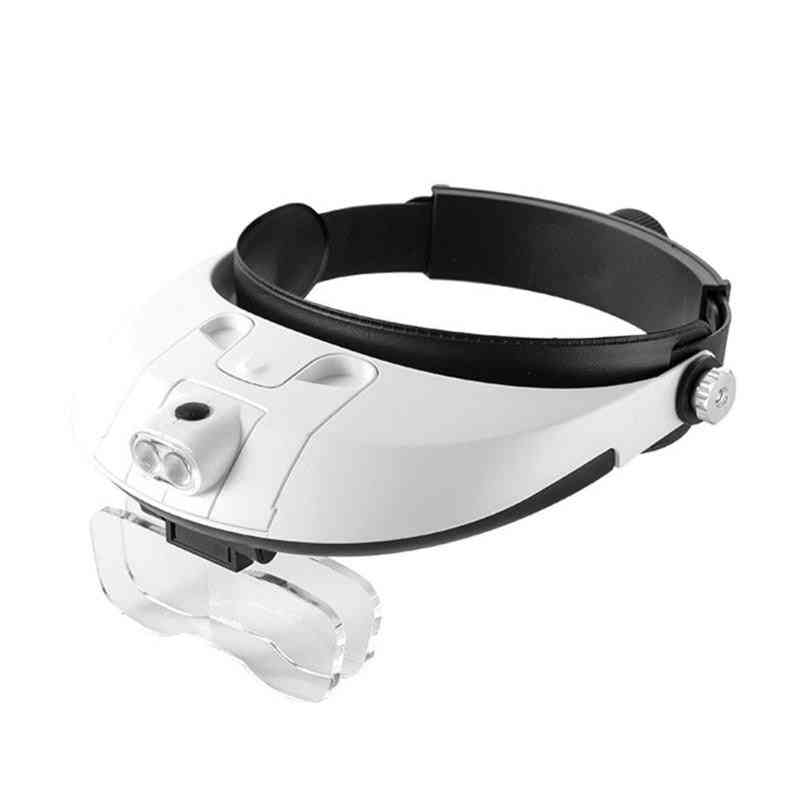 Led Headband Magnifying Loupe Detachable Headlamp Glass With 5 Replaceable Lens