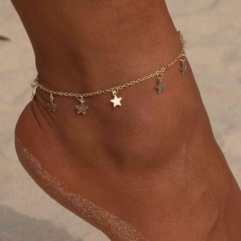 Star Pendant Foot Chain Summer Yoga Beach Leg Bracelet, Charm Anklets Jewelry