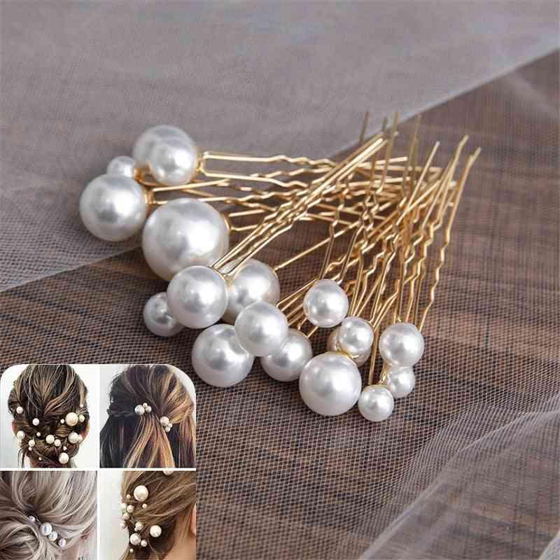 Women U-shaped Pin Metal Barrette Clip, Hairpins Simulated Pearl Bridal Tiara Hair Accessories