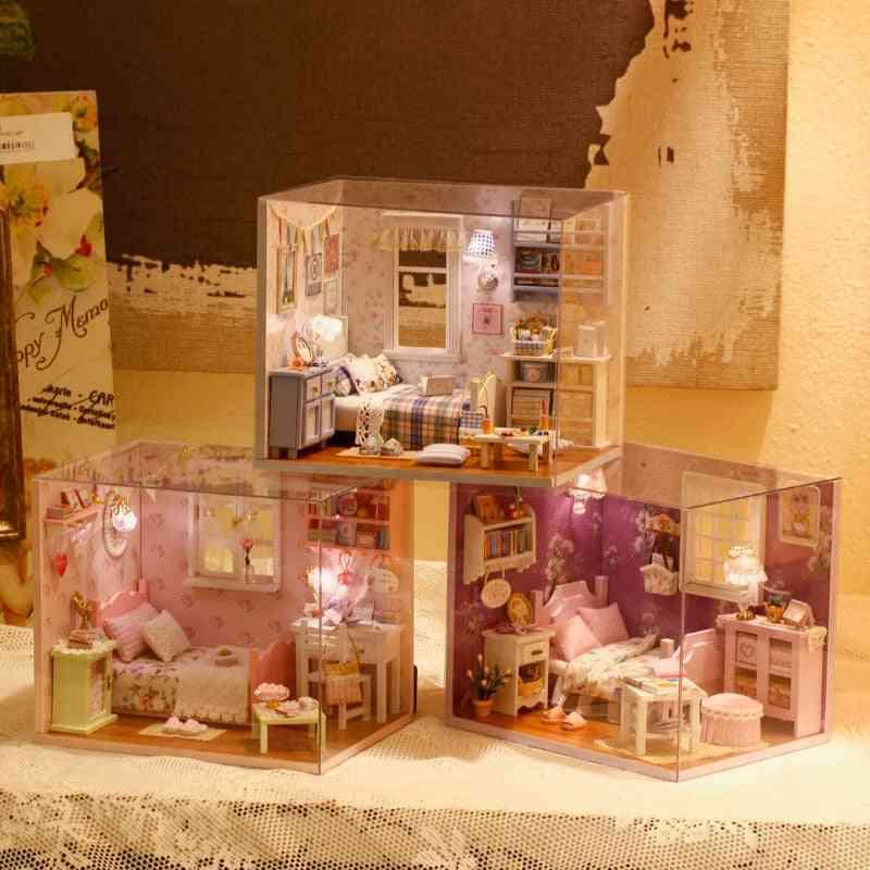 3d Diy Sunshine Series-3 Stlys Blocks With Furniture Led Lights House