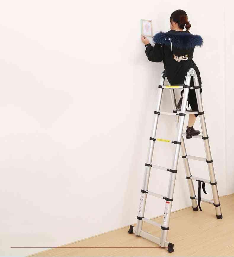 Retractable Folding Aluminum Herringbone Telescopic Extension Ladder