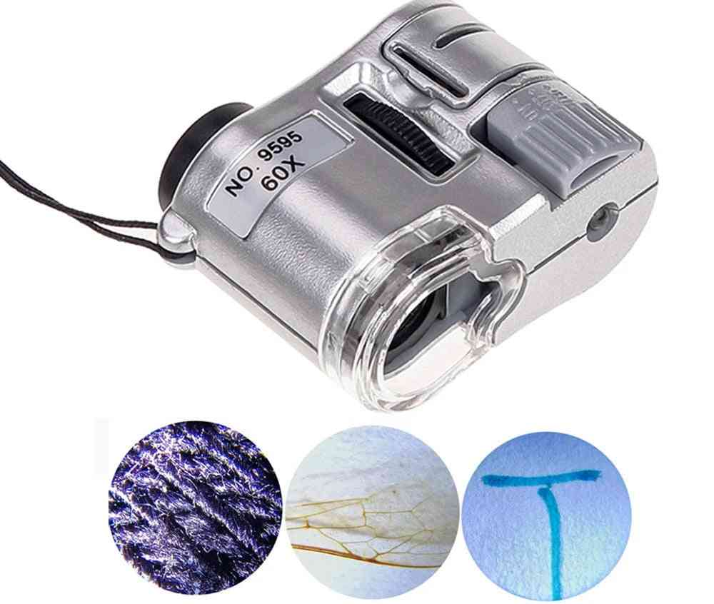 Handheld Mini Pocket Microscope Loupe Currency Detector, Jeweler Magnifier With Led Light