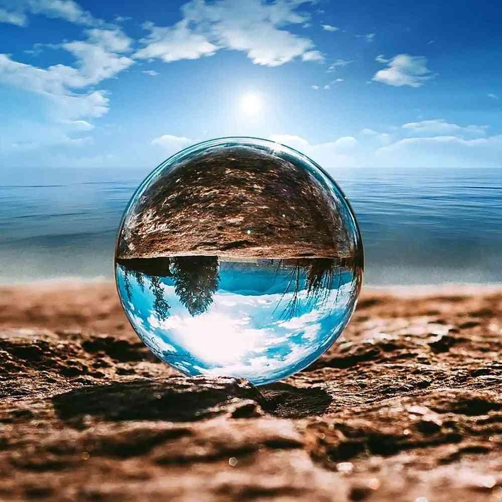 Large, Transparent Lucky Rainbow Photo Crystal Ball Decoration