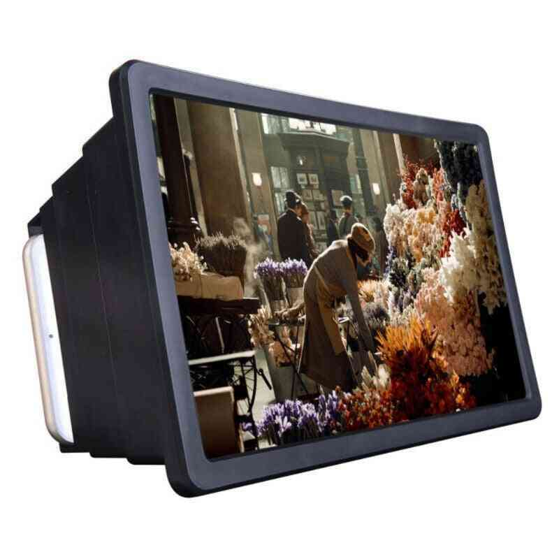 Cell Phone Screen Magnifier, 3d Hd Movie Video Amplifier With Foldable Holder Stand